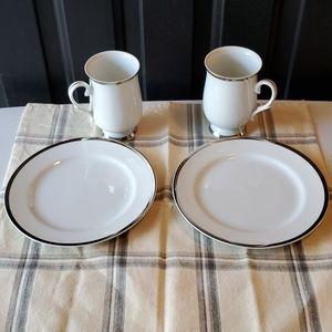 Sheffield Monaco China Dessert Plates & Mugs NWOT